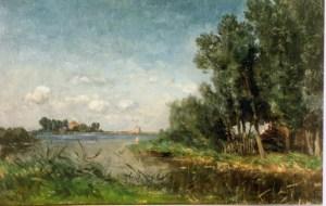 Willem Roelofs (1822 - 1897). Bij het Abcoudermeer.